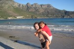 Junior Ali Foreman (left) and Emma, one of her host sisters, enjoy a beautiful day by Hout Bay. Foreman and the other exchange students have also visited a wildlife park and Robben Island, among other excursions. Photo courtesy Ali Foreman.
