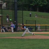 Pitcher Dylan Hurd throws to a pitch in during the Vikes' 5-4 loss to Gaithersburg.  Photo courtesy Joseph Kaperst.