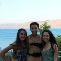 Ravick poses with two friends from the program at Ohalo Manor, a hostel in the Jordan valley right on the Kinneret.  The Kinneret is one of Israel's main water sources.  Photo courtesy Naomi Ravick.