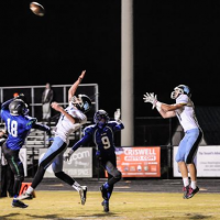 Receiver Nolan Hanessian goes up to snag the Vikings' only touchdown of the game. Photo courtesy Chris Hanessian.