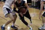 Guard Riley Shaver drives down the lane in the Vikes' loss to B-CC. Shaver had 10 points on the night. Photo by Jonah Rosen.