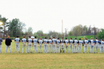 The Vikings (4-4) line up before their contest, a 5-2 victory, against the Churchill Bulldogs. Photo by Josh Millin