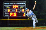 Sam Berson  dominated on the mound for the Vikings on Friday. He allowed one run in six innings as the Vikes trampled Walter Johnson 8-1. Photo courtesy John Shiffman.