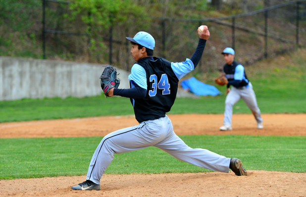 Pitcher Tyler Hwang was solid on the mound for the Vikings in their 10-3 rout of the Rockville Rams Saturday. Photo courtesy Adam Prill.