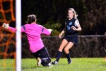Midfielder Mary Kate Skilling advances on goal moments before scoring. Photo courtesy Adam Prill.