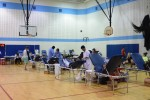 Members of the Whitman community in the gym for Thursday's Blood Drive. Photo by Rachel Hazan.