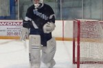 Goalie Matt Derry leaves the ice after Tuesday's win over B-CC. Photo courtesy Alan Goodwin
