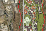 The Montgomery County Planning Department released these aerial views of what Westbard currently looks like (left) and what it may look like post-development (right). Graphic courtesy Montgomery County Planning Department.