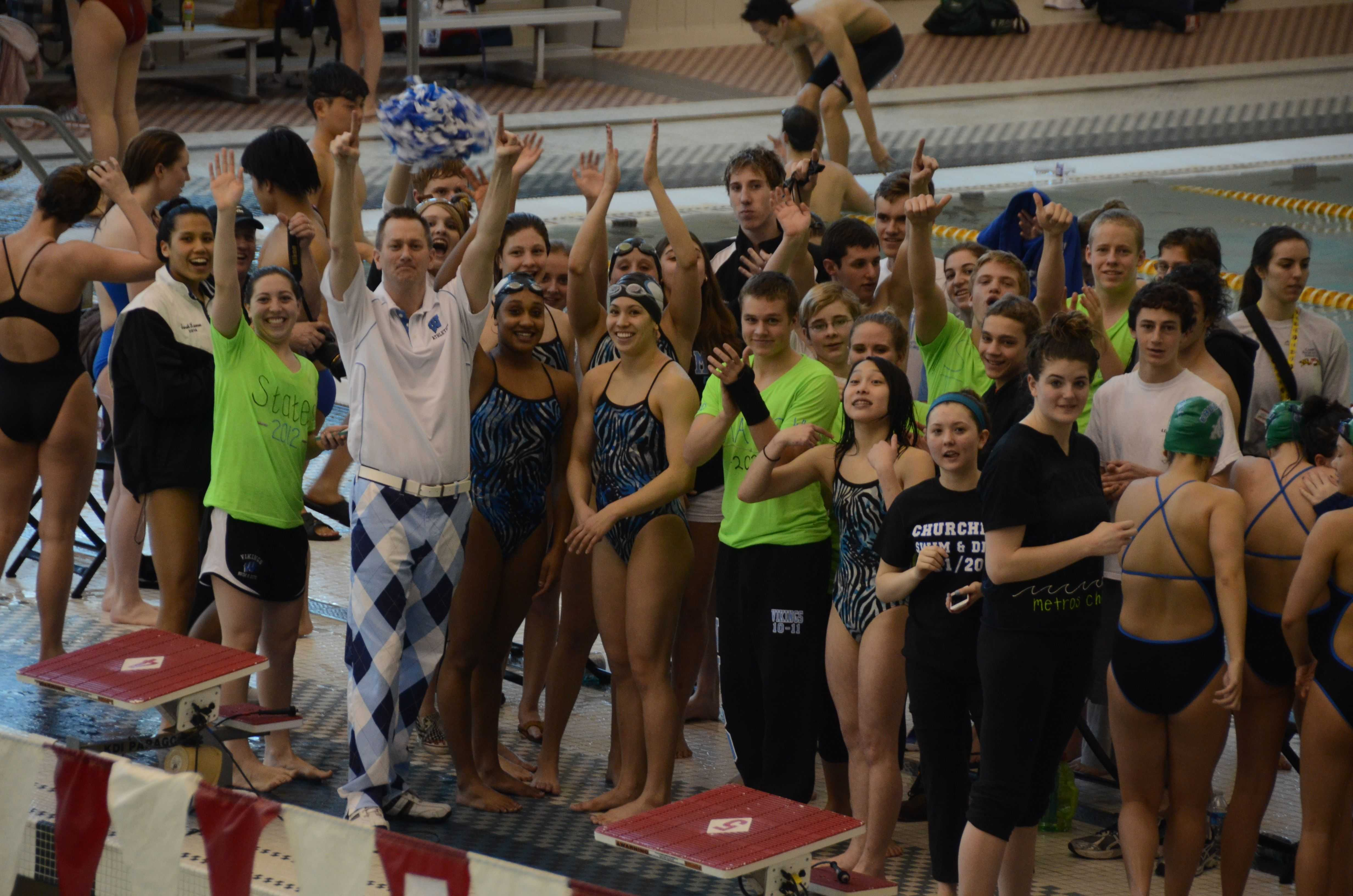 Girls swim and dive wins first state title the black white Tong high school swimming pool