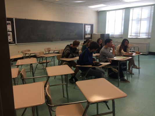 Only 6 out of 22 seniors were present in Mrs. Crewdson's third period AP Lit class.  Many students are absent today, Easter Monday, as it was originally part of spring break.  The county added an extra day to make up for the numerous snow days.